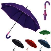Grand parapluie personnalisé 2 tons (noir, bleu, vert, rouge, violet) poignée courbée en gomme souple.