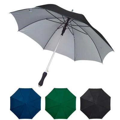 Parapluie personnalisé avec toile noir, bleu ou verte et intérieur gris, poignée ergonomique. Parapluie publicitaire robuste et léger.