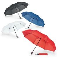 Petit parapluie personnalisé pliant automatique avec housse. Coloris des parapluie publicitaire : noir, blanc, bleu, rouge