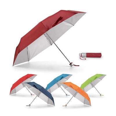 Petit parapluie pliant personnalisé manuelle, coupe vent, 8 baleines, toile coloris : bleu, bleu clair, vert, orange, rouge