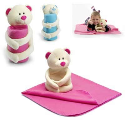 Couverture polaire avec doudou peluche ours personnalisée bleu ou rose. Plaid polaire publicitaire