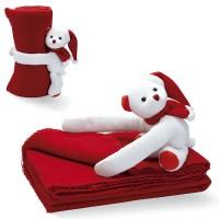Plaid polaire enfant. Couverture polaire rouge personnalisée avec peluche ours blanc publicitaire doudou