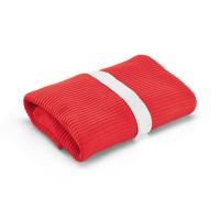 Grand plaid couverture polaire personnalisée rouge. Plaid polaire publicitaire