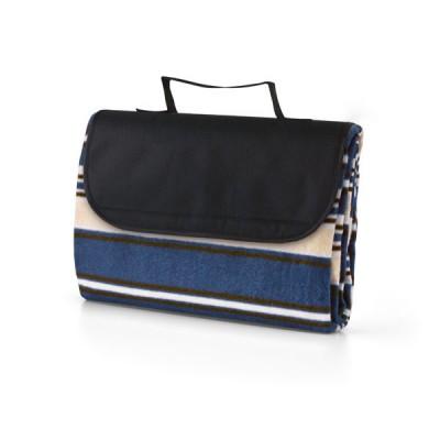 Plaid couverture polaire publicitaire personnalisée pliable avec poignée. Couleur bleu blanc noir