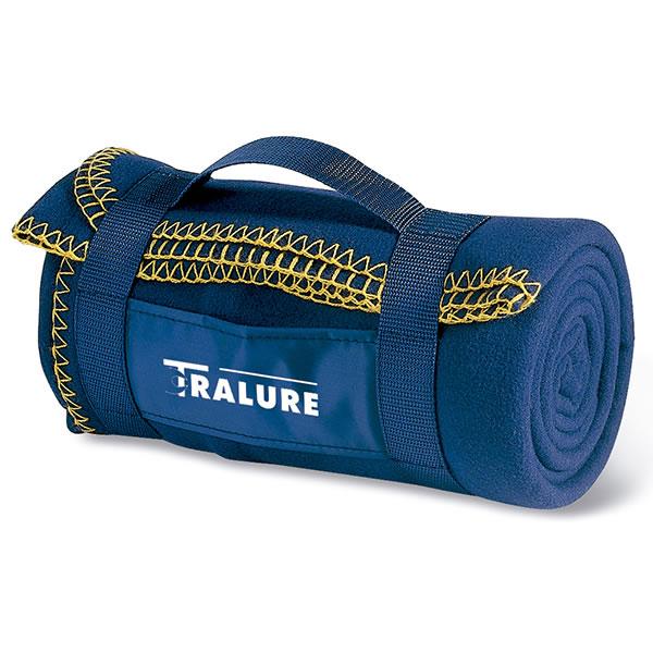 grande couverture polaire bleu avec sangle de transport bagage sac personnalis publicitaire. Black Bedroom Furniture Sets. Home Design Ideas