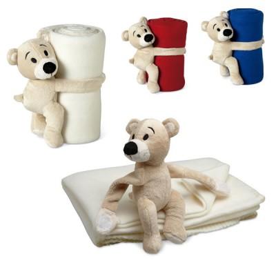 Couverture polaire peluche doudou ourson blanc, bleu, rouge publicitaire personnalisée pas cher. Plaid polaire enfant