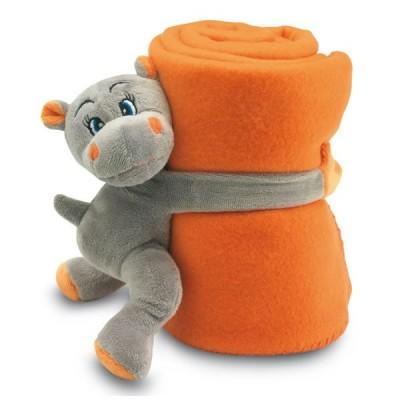Plaid polaire enfant personnalisé publicitaire. Couverture polaire avec peluche doudou hippopotame