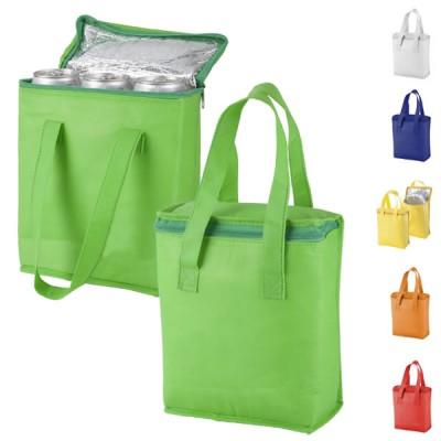 Sac shopping isotherme personnalisé publicitaire. Coloris : blanc, bleu, vert, jaune, orange, rouge