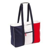 Grand sac de plage publicitaire, tricolore (bleu, blanc, rouge). Sac de plage publicitaire personnalisé