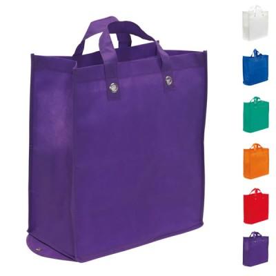Grand sac shopping cabas pliable personnalisé publicitaire pas cher, coloris : blanc, bleu, vert, orange, rouge, violet