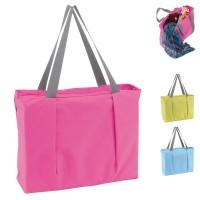 Grand sac shopping et plage personnalisé publicitaire. Coloris unis : rose, bleu, vert. Compartiment à fermeture éclair.