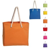 Sac de plage personnalisé en polyester et coton, coloris : bleu, vert, jaune, orange, rouge, rose, violet, vert