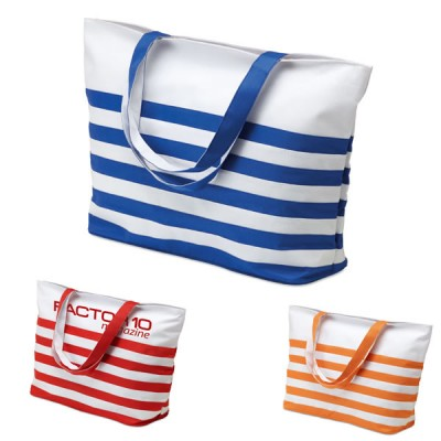 Sac de plage personnalisable publicitaire marinière à rayures bicolore bleu, orange, rouge, blanc