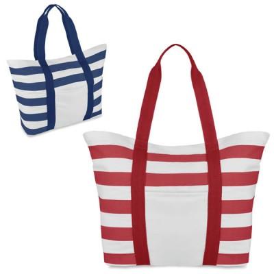 Grande sac de plage personnalisable marinière à rayures avec poche intérieure. Coloris : bleu / blanc et rouge / blanc. Sac plage publicitaire