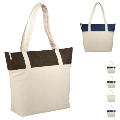 Grand sac de plage et shopping personnalisé bicolore avec compratiment à fermeture éclair