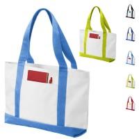 Grand sac de plage et shopping personnalisable avec poche ouverte. Coloris : bleu marine, bleu, bleu clair, vert, noir, rouge