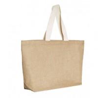 Grand sac cabas en toile jute personnalisable publicitaire avec anses plates en coton