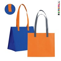 Sac tote bag à large soufflet personnalisé publicitaire. Coloris : blanc, bleu, vert, orange, rouge, rose