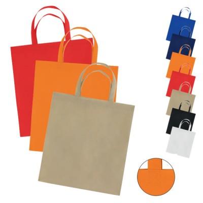 Sac en non tissé personnalisé, coloris : noir, blanc, beige, bleu, bleu marine, orange, rouge