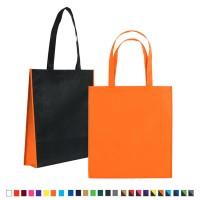 Sac shopping publicitaire personnalisé à soufflet. Coloris : noir, gris, bleu, vert, jaune, orange, rouge, rose, violet, marron, bordeaux