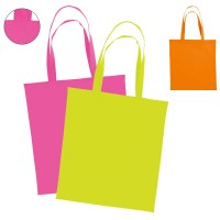 Sac shopping fluo personnalisable. Coloris : orange fluo, jaune fluo, rose fluo. Tote bah fluo publicitaire