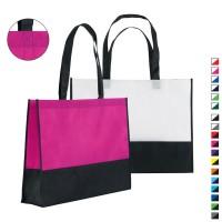 Sac shopping à soufflet publicitaire personnalisable bi couleur. Coloris : noir, gris, blanc, bleu, vert, jaune, orange, rouge, rose, violet