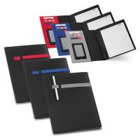 Conférencier format a4 personnalisable publicitaire avec bloc-notes de 20 feuilles et rangement cartes de visite