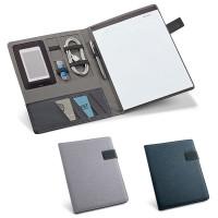Conférencier A4 personnalisé avec nombreux rangement et fermetur magnétique et bloc-notes