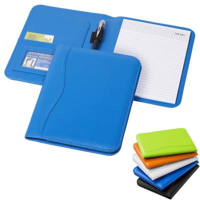 Conférencier A5 publicitaire personnalisé avec couverture noir, blanc, bleu, vert, orange