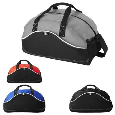 Grand sac de sport et voyage bicolore (gris, noir, bleu, rouge) publicitaire personnalisé