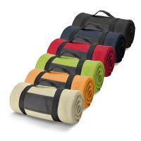Couverture polaire pas cher personnalisé, coloris beige, noir, bleu, vert, orange, rouge