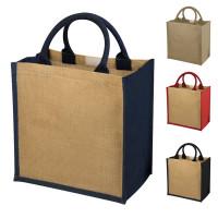 Grand tote bag en jute personnalisé, bicolore avec large soufflet. Sac shopping jute publicitaire