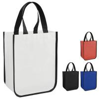 Petit tote bag personnalisé coloris noir, blanc, bleu, rouge