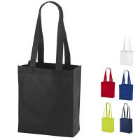 Tote bag publicitaire personnalisé à soufflet coloris : noir, blanc, bleu, vert, rouge