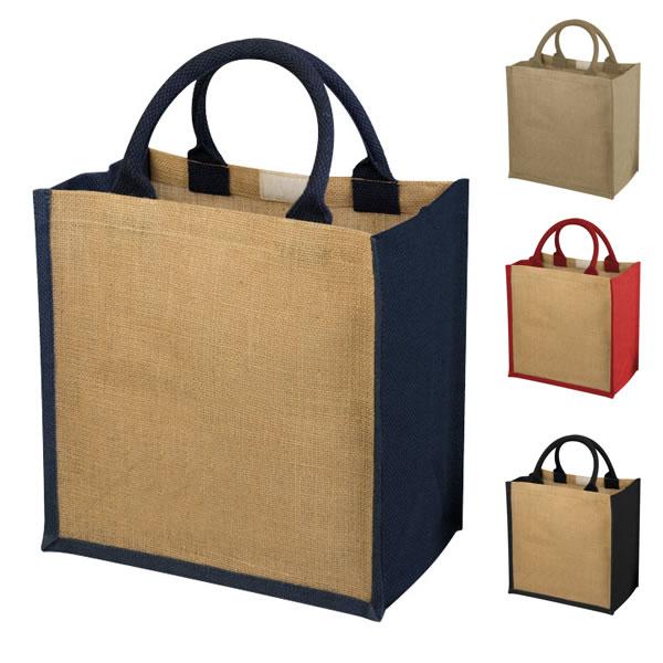 c18fd7ee8c Grand tote bag en jute personnalisé, bicolore avec large soufflet. Sac  shopping jute publicitaire